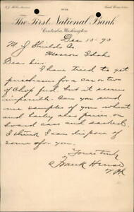 1893 Moscow Idaho (ID) Letter The First National Bank M. J. Shields Frank Hense