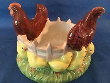 "Vintage hand painted glazed chicken hen chicks basket bowl ceramic farmhouse 9"""