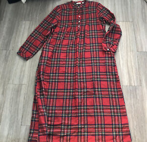 LL Bean Red Plaid Cotton Flannel Nightgown Long Sleeve Pajamas Small