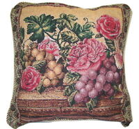 DaDa Bedding Romantic Red Fruit Roses Floral Throw Pillow Cushion Cover 18 x 18