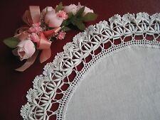 Vintage White Linen Lace Cordonnet Crochet Doily Victorian Antique Beautiful