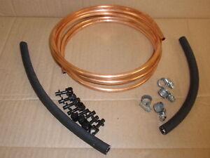 Triumph TR7 TR8 ** COPPER FUEL LINE KIT inc rubber pipe+clips **Carb models only