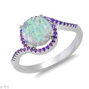 Sterlingsilber Mond Weiß Opal Rund Schliff Zirkonia Detail Ring Größen 3 - 12