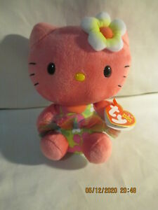 """Pink Hello Kitty Beanie Baby Stuffed Animal by TY 6"""" tall 2014"""
