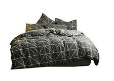 Dalin King Duvet Cover + 2 Pillowcases In Soft Geometric Black / Gray
