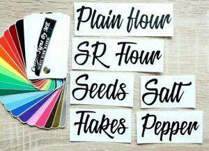 Kitchen Storage Jar Labels Flour Salt Pepper Stickers Vinyl Decals Adhesive BS2