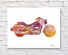 Harley Davidson Motorcycle Watercolor Abstract Art Print by Artist DJR