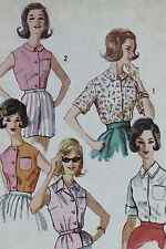 Vtg 1950s Simplicity Pattern 3745 Uncut Blouse Shirt Sleeves Sleeveless Simple