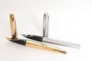 2 Sheaffer Imperial 444 Brushed Steel & GT Special Edition Fountain Pen Lot