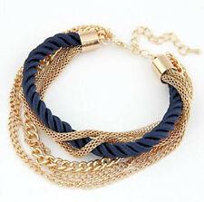 "Bracelet 7""- 9"" Costume Jewelry King Multi Layer Navy Blue & Gold Overlay"