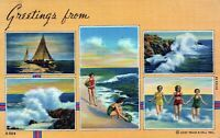 Greetings From Boats Swimming Beach Goers Posted Linen Vintage Postcard