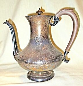 Vtg Victorian Silver Plate Coffee Pot w/Carved Wood Handle & Finial, Hand Chased