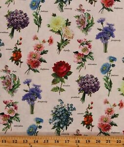 Cotton Flowers Floral Types Kinds Species Fabric Print by the Yard D588.57