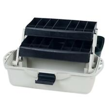 Silver 2-Tray 8-in x 16-in x 14-in Tackle Box Organizer with Large Compartment