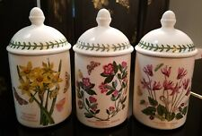 LOT of 3 PORTMEIRION BOTANIC GARDEN DOME LID JAR SET Narciccus, Rhododendron, &1