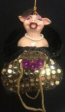 Katherine's Collection Retired Party Girl Pig Purse Ornament Nos