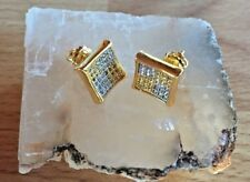 Mens & Ladies 14K Gold Filled 0.4ct. Lab Diamonds Canary Screw Back Earrings