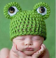 Baby Infant Newborn Handmade Crochet Knit Cap Frog Hat Costume Photograph Prop