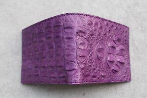 Handmade Purple Real Alligator ,Crocodile Leather Skin Men Bifold Wallet