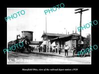 OLD LARGE HISTORIC PHOTO OF MANSFIELD OHIO, THE RAILROAD DEPOT STATION c1920