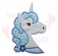 XL Einhorn Kopf ♥ Applikation Aufbügler Aufnäher Patch in blau weiß pferd