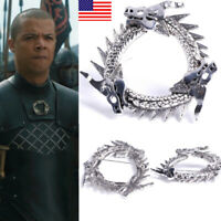 US! Game of Thrones inspired Unsullied Dragon Brooch Grey Worm Pin Fans Gift HOT