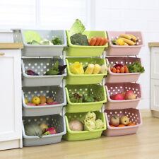 Kitchen Home Storage Stacking Stackable Basket Fruit Vegetable Rack Multi Tier