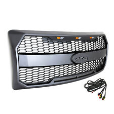 Charcoal Gray ABS Front Mesh Grille With 3 Amber LED Lights 09-14 Ford F-150
