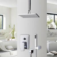 "Chrome 8"" Bathroom Shower Mixer Diverter Shower Head Rainfall Shower Set"