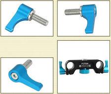 FOTGA Aluminum M5 Thread Wingnut Thumb Knob Screw for 15mm Rail Rod Clamp Blue