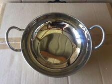 """2 X Stainless Steel 9"""" Flat Bottom Balti Serving Dishes - Curry Serving Bowl"""