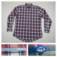 Southern Tide Mens Medium Pink Plaid Button Front Long Sleeve Casual Shirt