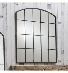 """Rockford Large Vintage Metal Arched Window Overmantle Wall Mirror 36x30"""" 91x76cm"""