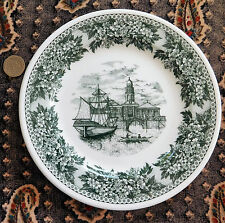 "Green Wedgwood side plate 7"" vintage 1970s Metallised Bone China Italian city"