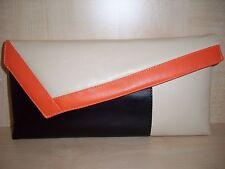 Naranja, Crema Y Negro Imitación Cuero Bolso sin asas Bolso totalmente forrado, hecho en el Reino Unido.