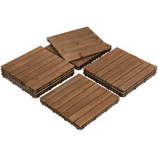 17.5x17.5'' Patio Deck Tiles Wood Flooring Pavers Tiles Outdoor Indoor 12PCS
