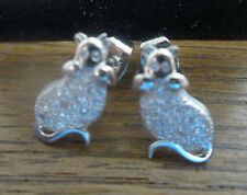 Sterling Silver Cat Stud Earrings with Crystals in Body