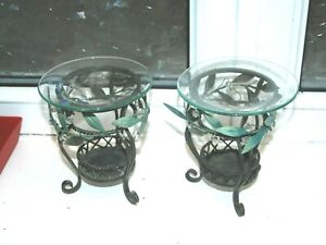 Parti Lite Melts Holders in Charcoal Metal and Leaf Design x 2 (Cons)