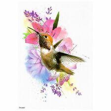 Temporary Tattoo Sticker Flying Hummingbird Large Colorful Waterproof 150x210mm