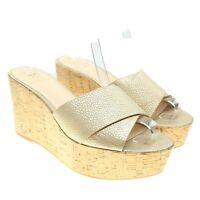 VINCE CAMUTO Kessina Gold Criss Cross Pebbled Leather Wedge Platform Sandals