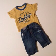 Newborn Baby Boys 0-3 Months Short Sleeve T-shirt And Little Rocha Jeans Outfit