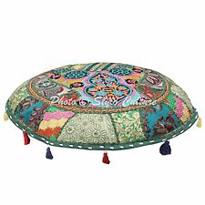 """Patchwork 22"""" Round Embroidered Pouf Cover Cotton Dark Green Floor Cushion Cover"""