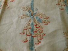Antique French Floral Bouquet Ribbon Garland Cotton Fabric ~ Red Blue Brown