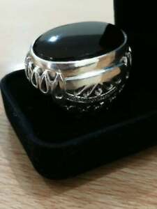 Rare Huge Dark Red Yemeni Aqeeq Ring 925 Sterling Silver Hand Crafted For Big Ha