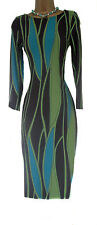 NEW ex WALLIS RETRO BLACK GREEN BLUE BODYCON PENCIL WIGGLE DRESS 10 14
