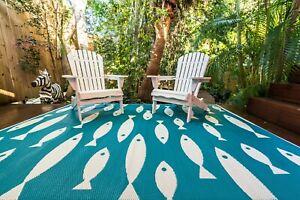 200x270cm Outdoor Plastic Rug/Mat Hamptons Style Schooling Fish