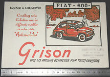 BUVARD 1950 GRISON ENTRETIEN CHAUSSURES AUTOMOBILE AUTO FIAT 600