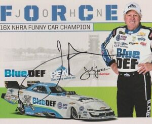 2020 John Force signed Peak Blue Def Chevy Camaro Funny Car NHRA Hero Card