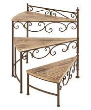 3 Shelf Plant Stand Tiered Rustic Iron Wood Shelves Scrolled Frame Footed Legs