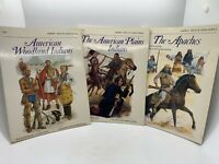 3 Osprey Men at Arms SC Books: Apaches, American Plains Indians, Woodland Indian